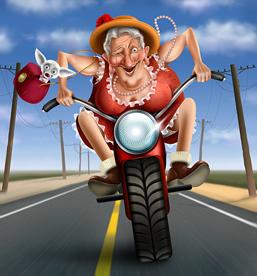 Gran on a motorbike